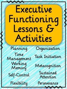 Executive functioning lessons and activities. Help middle school kids learn critical skills: planning organization time management self-control metacognition and more. Middle School Counseling, School Ot, School Social Work, School Counselor, School Stuff, High School, Social Emotional Learning, Social Skills, Study Skills