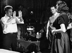 Director Elia Kazan with Patricia Neal on the set of A Face in the Crowd, 1957.
