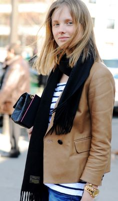 Brown leather jacket, gold + stripe accents.