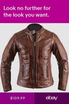 06b7ad3ecb4 Mens Biker Vintage Motorcycle Distressed brown cafe racer leather jacket M11