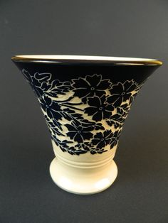 Ken Tracy Pottery Cosmos vase. Cobalt on white clay. Wheel thrown and hand carved.