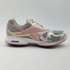 ea0590907624 Reebok Womens EasyTone Walking Athletic Sneakers Silver Pink Yellow White  8.5 US  Reebok  LowTop