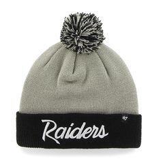 Oakland Raiders Script Two Tone Cuff Knit Steel Grey 47 Brand Hat