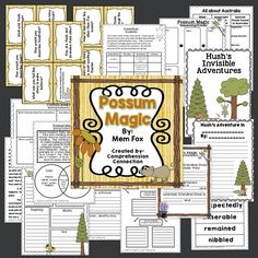 Possum Magic by Mem Fox Road Trip Activities, Party Activities, Reading Comprehension Activities, Reading Resources, Possum Magic, Guided Reading Organization, Common Core Reading, Thing 1, Kids