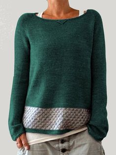 Womens Casual Patch Crew Neck Long Sleeve Overhead Sweater is on sale at reasonable prices, having a beautiful sweater & cardigan, you can own a beautiful autumn. Casual Sweaters, Blue Sweaters, Pullover Sweaters, Sweater Cardigan, Sweatshirt, Brown Sweater, Sweater Outfits, Long Sleeve Sweater, Autumn Fashion
