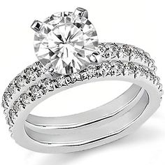 If i can get over not having a diamond, this would be amazing! Round Moissanite Wedding Ring Set