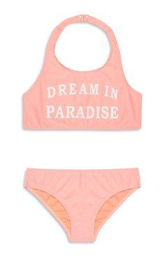 Primark - Older Girl Coral Slogan Bikini