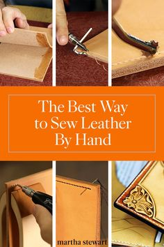 An Expert's Guide on How to Sew Leather by Hand - Lederverarbeitung Diy Leather Projects, Hand Sewing Projects, Leather Diy Crafts, Leather Craft Tools, Leather Gifts, Leather Bags Handmade, Sewing Projects For Beginners, Sewing Tutorials, Sewing Tips