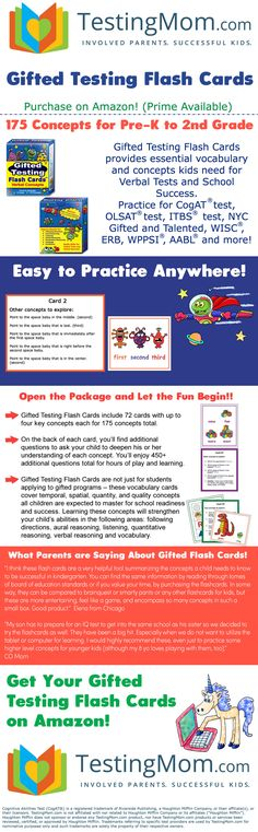 TestingMom.com Gifted Learning Flash Cards - Verbal Concepts and Vocabulary for Pre-K - Kindergarten