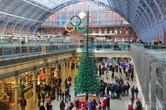 33-foot tall Christmas tree made of Legos, in London's St. Pancras Station