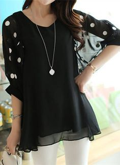 Stylish V-Neck 3/4 Sleeve Polka Dot Loose-Fitting Chiffon Women's Blouse
