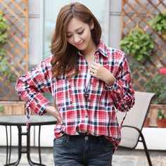 Hstyle Lace-Up Sleeve Plaid Shirt