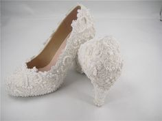 Lace Wedding Shoes, Lace Bridal Shoes, Pearl Wedding Shoes, Bridesmaid Shoes, Beaded Lace Shoes, Prom Shoes by SharinaWedding on Etsy https://www.etsy.com/listing/203729557/lace-wedding-shoes-lace-bridal-shoes
