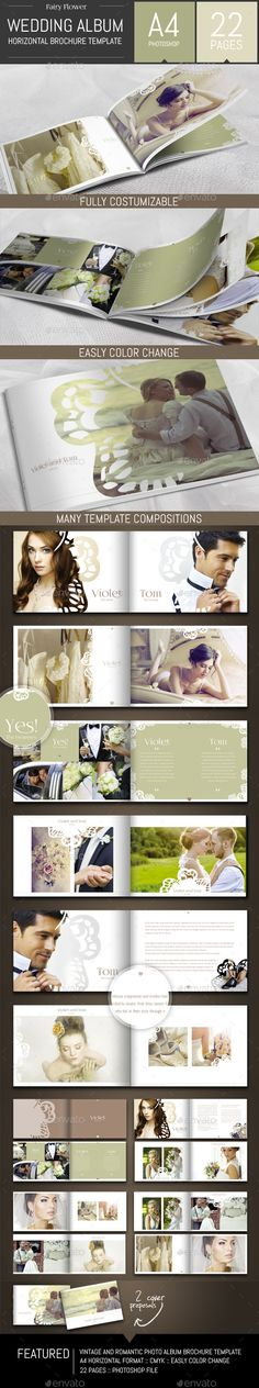 Wedding Photo Album Horizontal Brochure Template - Photo Albums Print Templates Más