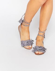 Find the best selection of ASOS FLASHY Suede Tie Leg Fringe Sandals. Shop today with free delivery and returns (Ts&Cs apply) with ASOS! Lace Up Sandals, Lace Up Shoes, Flat Sandals, Shoes Sandals, Crazy Shoes, New Shoes, Mid Heel Shoes, Best Flats, Shoes 2014