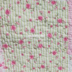 Shabby chic-FLORAL-REMIENDO-FULL-REINA Quilt-Casa-Rosa-Blanco-Verde