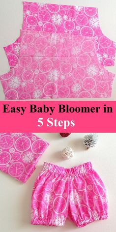 Easy Baby Bloomers in 5 Steps (Simple Sewing Project) Learn how to sew easy baby bloomers in just 5 steps. They are so easy and quick to sew that you can make them in just 30 minutes. Free Baby Patterns, Baby Dress Patterns, Baby Clothes Patterns, Free Pattern, Skirt Patterns, Coat Patterns, Blouse Patterns, Sewing Baby Clothes, Girl Doll Clothes