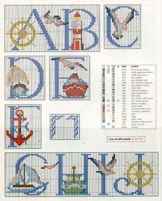 Schema punto croce Alfabeto nautico 1