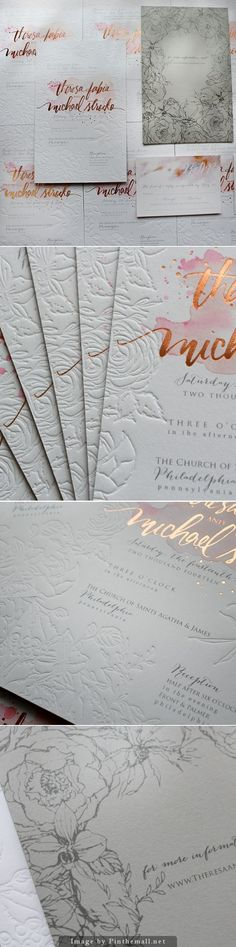 Rose Gold Foil and Blind Letterpress Floral Wedding Invitations.
