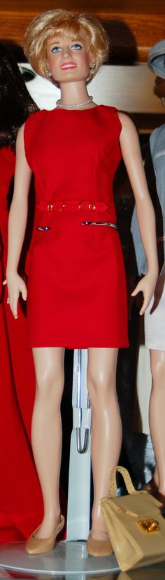 Red Shift Dress by Val Green - Belt by her daughter Sharon Williamson - Princess Diana doll - picture by Catherine Ford-Barbiero