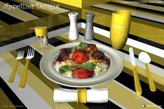 """One in a collection of culinary art decor entrée designs based on a concept of combining culinary art with abstract design featuring """"Indian Buffet"""", 3D-Cuisines food model."""