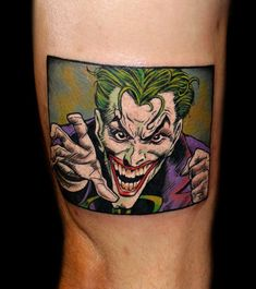 Joker comic tattoo by Chris 51 of Area 51 Tattoo, Springfield, OR & Epic Ink TV A&E