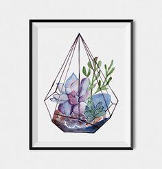 SUCCULENT WALL ART, Succulent Terrarium, Geometric print, Cactus Print, Plant Art, Watercolor Cactus, Botanical Print, Succulent Painting by DiviArtsStudio on Etsy