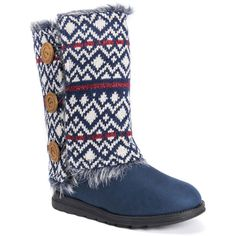 MUK LUKS Reversible Andrea Women's Blue Boot ($50) ❤ liked on Polyvore featuring shoes, boots, blue, slip on boots, cuff boots, blue slip on shoes, slip on shoes and cuff shoes