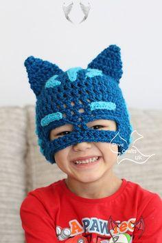 Catboy Mask Hat (PJ Masks)  <br> Crochet Mask, Crochet Beanie, Crochet Gifts, Free Crochet, Crochet Animal Hats, Crochet Hats For Boys, Festa Pj Masks, Crochet Character Hats, Crochet Costumes