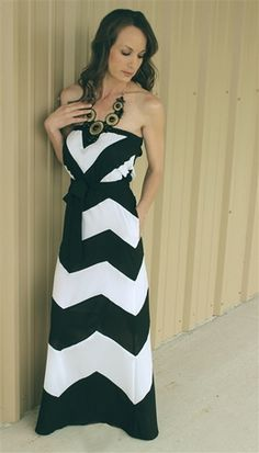 Chevron Stripe Strapless Maxi Dress