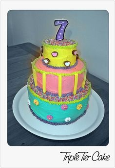 Tiered cake for daughter's 7th