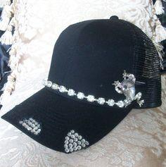 MOM Adorable Black Rhinestone Embellished Trucker Baseball Hat Cap w  rhinestone Frog new SALE 9e307f3448a