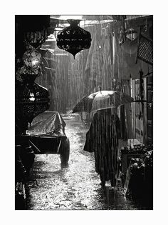 Marrakech under the rain (BW) - Marrakech, Marrakech