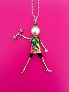 Ellie's Belles french doll pendant with workout outfit and dumbbell charm!