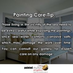 A beautiful sea view house is just amazing to live in. But the sea doesn't really agree with your priced artworks. A little extra care and caution is required.  #Monsoon #TipOfTheDay #PaintingCare #Maintainance #Art #Painting #ArtGallery
