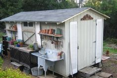 I installed shutters and shelves on the shed