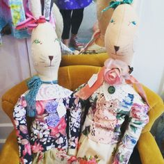 Pair of bunnies.all dressed up to the nines in vintage gorgeousness. Currently available from Glory Days in Holt. Kitsch, Bunnies, Vintage Inspired, Dress Up, Dolls, Retro, Amazing, Fabric, Instagram Posts