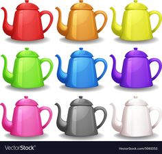 Teapots vector image on VectorStock Teaching Kids Colors, Alphabet Pictures, Busy Boxes, Kids Learning Activities, Everyday Objects, Coloring For Kids, Clipart, Games For Kids, Tea Pots