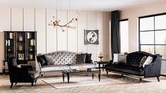 Retro Luxury Koltuk Takımı - Lüks Koltuk Takımları - Berke Mobilya Entryway Bench, Dining Bench, Buy Furniture Online, Sofa, Couch, Drawing Room, Living Room Furniture, Furniture Design, Art Deco