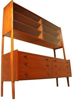 Rare Glass Front Sideboard by Hans Wegner for Ry Mobler