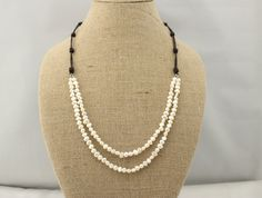 ETS-S154 Freshwater baroque pearl beaded necklace,Bridal necklace,2 strands long leather pearl necklace,black leather necklace by PearlJewellery on Etsy https://www.etsy.com/listing/217014798/ets-s154-freshwater-baroque-pearl-beaded