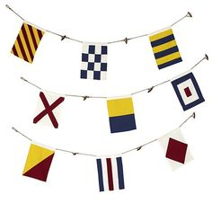The Land of Nod | Nautical Flag Banner in Hanging Décor; $29 but I'm going to make them with leftover canvas, leftover twine, and I'll pick up some paint from Hobby Lobby!