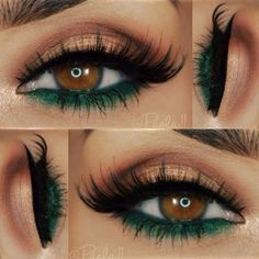 Green and Brown Eyeshadows on Brown Eyes