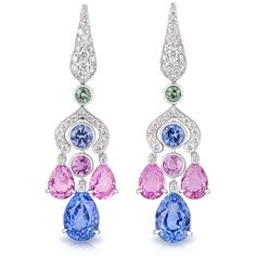 Fabergé. Délices D'Été Lumière Drop Earrings feature round white diamonds and multi-coloured round and pear shape sapphires set in 18 carat white gold.