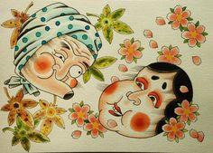 Hiottoko and Okame