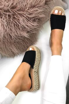 c6742df4c019 Get Summer ready in our lush Lucy Black Espadrille Flatform sliders.