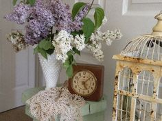 Vintage bird cage, milk glass, lilacs, shabby chic