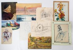 """Lot 299: Watercolor, Drawing and Oil on Board Assortment; Eleven items including a pen and ink sketch signed """"Busom"""" depicting a dancing female; a watercolor on paper signed """"REC"""" depicting a harbor at night; a watercolor on paper signed """"K. Caserello"""" depicting figures with a camel; two pencil on paper sketches signed """"Ruthellen Stone"""" depicting buildings"""