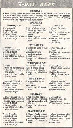 The Vintage Diet: 1953 vs 2013 – Food, Fashion and Fitness Retro Recipes, Old Recipes, Vintage Recipes, 1950s Food, Retro Food, Wartime Recipes, Vintage Housewife, Vintage Menu, Vintage Cooking