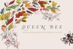Watercolour Clip Art - Queen Bee by CreateTheCut on @creativemarket